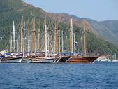 Port with yachts in marmaris turkish resort — Stock Photo