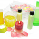 Spa hair mask tonic essences liquid soap — Stock Photo