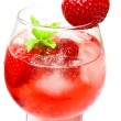 Alcoholic punch cocktail with strawberry — Stock Photo