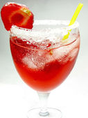 Alcohol liqueur punch cocktail with strawberry — Stock Photo