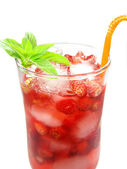 Fruit red drink juice with wild strawberry — Stock Photo