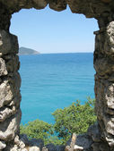 Panoramic view out of window in ancient castle turkey — Stock Photo
