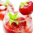 Alcoholic liqueur cocktail punch with strawberry — Stock Photo #10194319