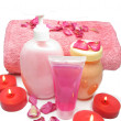 Spa shampoo shower gel rose petals and cremes — Stock Photo