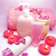 Spa shampoo shower gel rose petals and cremes — Stock Photo #10199761