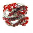 Jewelry ring with bright red ruby crystals — Stok Fotoğraf #10237237