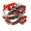 Foto Stock: Jewelry ring with bright red ruby crystals