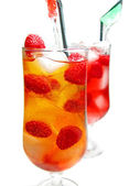 Fruit cocktail smoothie with raspberry — Stock Photo