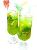 Green kiwi and lemon lemonade drinks — Stock Photo