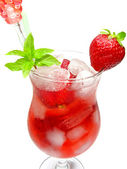 Fruit juice cold drink with strawberry — Stock Photo