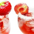 Alcoholic liqueur cocktail punch with strawberry — Stock Photo #10444538