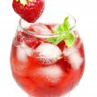 Alcoholic liqueur cocktail punch with strawberry — Stock Photo #10444547