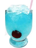 Alcoholic liqueur blue curacao cocktail with cherry — Stock Photo