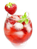 Alcoholic liqueur cocktail punch with strawberry — Stock Photo