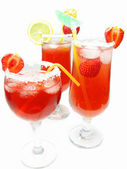 Red cocktail drinks punch with strawberry — Stock Photo
