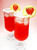 Punch cocktail drinks with strawberry — Stock Photo
