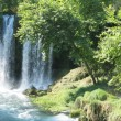 Waterfall duden out of grotto antalya turkey — Stock Photo