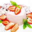 Strawberry dessert with pudding — Stock Photo