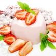 Strawberry dessert with pudding — Stock Photo