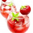 Punch fruit cocktail drinks with strawberry — Stock fotografie