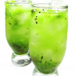Green kiwi lemonade cocktails — Stock Photo