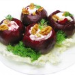 Vegetable snack with stuffed beetroot - Stock Photo