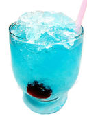 Alcoholic blue liqueur cocktail with cherry — Stock Photo