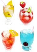 Group of cold cocktails drinks with fruit — 图库照片