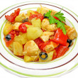 Cooked chicken meat with vegetables — Stock Photo