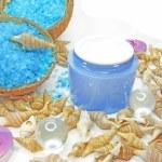 Spa candles sea shells and salt — Stock Photo