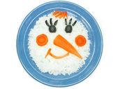 Creative porridge snow man shape — Stock Photo
