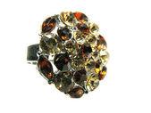 Pierścień biżuteria z kryształów żółty jasny — Zdjęcie stockowe