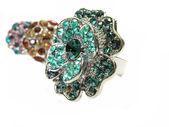Joyas anillos con brillantes cristales amarillos — Foto de Stock