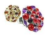 Smycken ringar med ljusa gula kristaller — Stockfoto