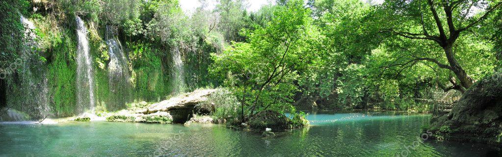 Фотообои Водопад панорама каскада в глухом лесу