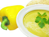 Yellow soup with bread — Stock Photo