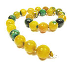 Yellow and green agate beads — Stock Photo