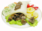Squid meal with mushrooms — Stock Photo