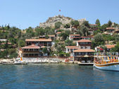 Houses on the rock in kekova turkey — Stock Photo
