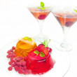Jelly fruit dessert and alcohol cocktails — Stock Photo