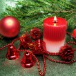 Red christmas balls candle and ribbon — Stok Fotoğraf #9626502