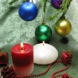 Christmas balls candles home decoration — Stock Photo