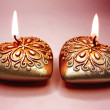 Scented spa candles set heart shape - Stok fotoğraf
