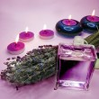 Stock Photo: Spa candles lavender oil