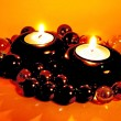 Foto de Stock  : Spscented candles in darkness