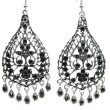 Jewelry earrings with bright black crystals — Zdjęcie stockowe #9646399