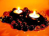 Spa scented candles in darkness — Stock Photo