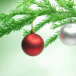 Stock Photo: Christmas balls hanging on fir branch
