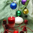 Christmas balls and candles — Stockfoto #9652104