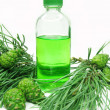 Spa aroma oil bottle with fir extract - Stock Photo